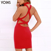 YOINS 2016 New Arrival Halter Neck Bodycon Mini Dress Backless Bandage Women Mini Dress Sexy Party Night Clubwear Summer Style