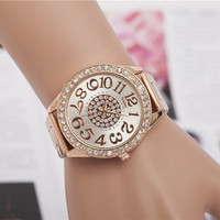Women's Fashion Rhinestone Golden Watches Round Dial Stainless Steel Watchband Quartz Wrist Watch = 1956597380