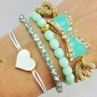 Mint Dreams Bow Bracelet Stack