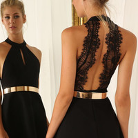 Black Sleeveless Halter Contrast Lace Backless Dress