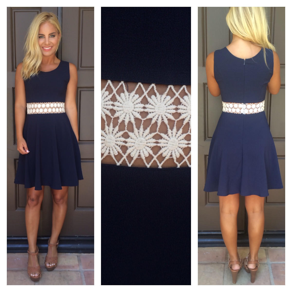 Image of You Drive Me Daisy Flare Dress - NAVY