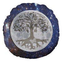 Moon Light and Star Galaxy Round Pillow