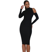Top Turtleneck Backless Short Party Dress Sexy Hollow Out Black Long Sleeve Bodycon Dress