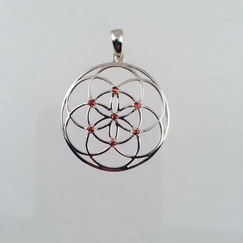 Sacred Geometry, Seed of Life Pendant with Orange Sapphires set in 925 Sterling Silver