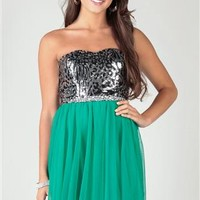 Strapless Dress with Cheetah Corset and Two Tone Tulle Circle Skirt