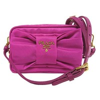Prada 1N1727 Tessuto Nylon and Leather Bow Crossbody Bag Fuxia Pink