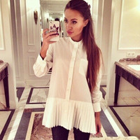 White Pleated Trim Long Sleeve Button Shirt