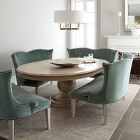 "Hotel Maison ""Prudence"" Pedestal Dining Table & ""Brumley"" Velvet Banquette - Horchow"