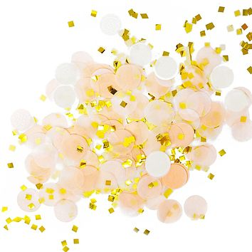 Peach White Gold Metallic Tissue Paper Shredded Circle Confetti Party Decoration