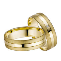 14k Yellow Gold Diamonds pinstripe Wedding Band Sets