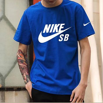 NIKE Summer Fashion Men Casual Print Round Collar Sport T-Shirt Top Blue