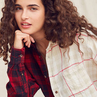Urban Renewal Recycled Spliced Button-Down Cropped Flannel Shirt | Urban Outfitters