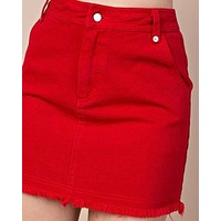 HONEY BELLE - High Waisted Raw Hem Denim Skirt - Red