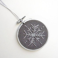 Embroidery Hoop Grey and Silver Snowflake by sometimesiswirl