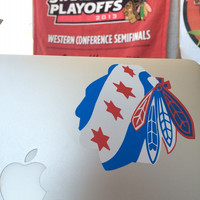Chicago Blackhawks / Chicago flag vinyl decal - sticker
