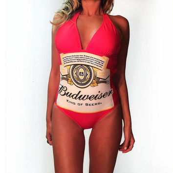SUMMER SALE Vintage 90's Red Budweiser Backless Bathing Suit || Size Medium to Large Swimsuit