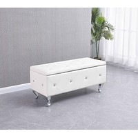 Wooden Bench - White Tufted Hard Wood Storage Bench
