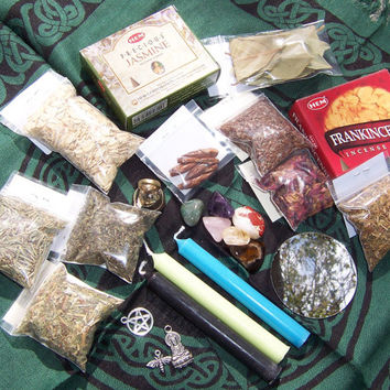 Assorted Wicca Supplies - Pagan Candles Incense Herbs Charms Stones Handmade Items + More