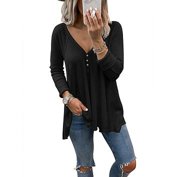 Dressmine Women's V Neck Shirts Long Sleeve Button Down Tunic Tops Pullover
