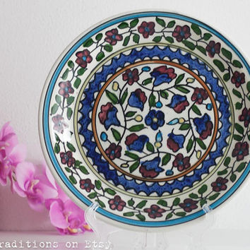 Mediterranean Wall Hanging Plate: Decorative Armenian Plate, Vintage Ceramic Hand-Painted Floral Plate, Wall Decor, Made in Israel