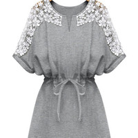 Grey Lace Short Sleeve  Drawstring Waist Dress