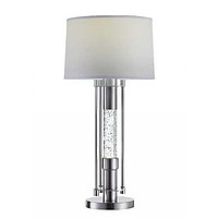 """Brushed Nickel Metal Glass LED Shade Table Lamp 15"""" X 15"""" X 32"""""""
