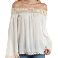 Ivory Crochet-Trim Off-the-Shoulder Tunic Top by Charlotte Russe