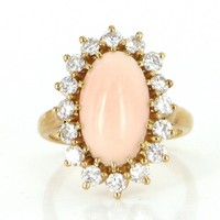 French Angel Skin Coral Diamond Vintage Cocktail Ring 18 Karat Gold Estate Jewelry 5