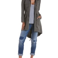 Olive Long Line High-Low Utility Jacket by Charlotte Russe