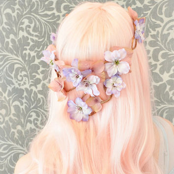 Flower crown, pink and lavender hair circlet, floral cascade crown, wedding accessory