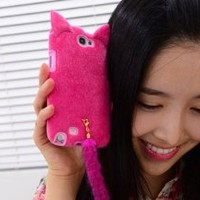 3D Cute Fluffy Tail Cat Case Cover Skin for Samsung Galaxy Note 2 N7100 Rose