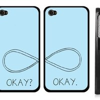 Set of Two Infinity The Fault in Our Stars iPhone 5 5s Case- Okay? Okay. iPhone 5s Cover for Couples