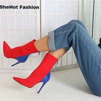 Women Casual Pointed Toe Color-Block Thin Heel Ankle Boots