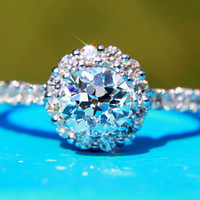 SaLE - OLD and NEW - 1.12 carats total - Old Eropean cut Center diamond - Halo - Antique Style - Diamond Engagement Ring 14K