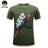 Hot 2016 New Arrival The Cheapest Brand AK47 Gun Top Quality 3d Printed Men's Short sleeve Wear T Shirt 100% Cotton Men's Shirt