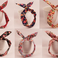 Fashion Koean Style Floral Fabric Bunny Ears Width Hair Band