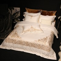 4pcs Bedding Set Queen Size King Size white Duvet Cover Bed Sheet Bedspread Egyptian Cotton Bed Sheets golden Embroidery Bed Lin