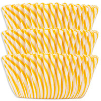 Yellow Candy Stripe Baking Cups