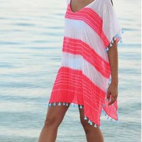 Coco Bay - Seafolly Coastline Cable Kaftan Beach Cover-Up in Hot Red, designer women's swimwear and beachwear for women at its best. Next Day Delivery & Free UK Returns - Women's Swimwear and Seafolly bikinis - Designer Beachwear for Women - Free UK Return