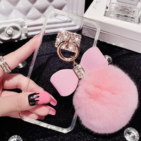 Fashion butterfly rabbit hair ball transparent phone case for iphone 5 5s SE 6 6s 6 plus 6s plus + Nice gift box 080901