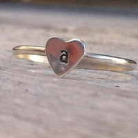 Sterling Silver Stack Ring with Tiny Hand Stamped Heart...Initial-Personalized -Custom-Bridesmaid Gift