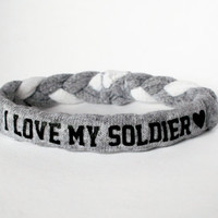 I love my soldier, Custom Military Bracelet - Army, Air Force, Navy, Wife, Girlfriend, Fiance (women, teen girl)
