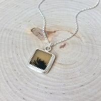 Dendritic Agate Pendant in .925 Sterling Silver with Silver Rolo Chain, Picture Agate Necklace in Yellow and Black, Unique Agate Gemstone