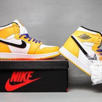 Nike AIR JORDAN 1 AJ1 Men Women Fashion Running Sport Basketball Shoes White/Yellow Size 36-46