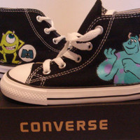 The Monster INC Hand Painted On Black Converse shoes COP17