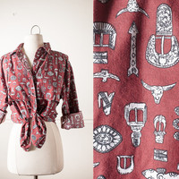 Vintage Western Shirt   Southwestern Print Rockabilly 80s Shirt 1980s Cowgirl Cowboy Rodeo Horses 80s Blouse 80s Top Button Down Retro Boho