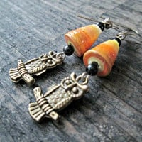 Owl Jewelry - Owl Earrings - Paper Bead Jewelry - Upcycled, Recycled, Repurposed - Eco-Friendly Jewelry - Orange Jewelry - Ombre Earrings