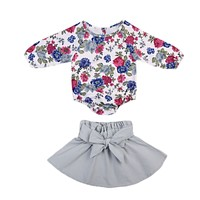 Casual Toddler Baby Girl Bodysuits Tops Long Sleeve Skirts Bow Clothing Set Baby Girls Clothes Sets Outfit 0-24M
