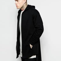 ASOS Oversized Extreme Longline Hooded Jersey Jacket In Black