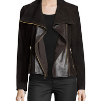 Suede Jacket W/Leather Panels, Chocolate Brown, Size: